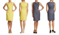 Tahari ASL Women's Cutout Neckline Sheath Dress - Charcoal - Size: 4