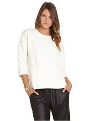 BCB Generation Women's Long Sleeve Knit Top - Wisper White - Size: Medium