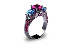 18K Ruby & Sapphire Cubic Zirconia Ring - White Gold - Size: 7