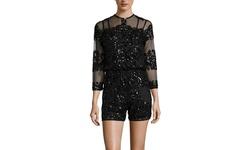 Beulah L/S Sheer Sequin Dress - Black - Size: Medium