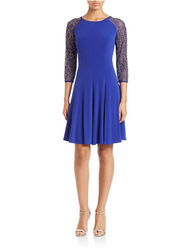 Chetta B Women's Beaded Fit & Flare Dress - Sapphire - Size: One Size