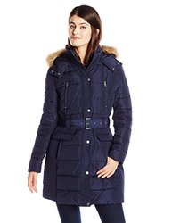Tommy Hilfiger Women's Down Alternative Coat with Faux Fur Trim Hood and Striped Belt, Navy, X-Small