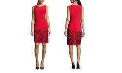 Chetta B. Sleeveless Sheath Dress with Sequin Detail - Scarlet/Blk - SZ:4