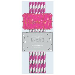 Slant Collections Fuchsia White Stripe Gold Cheers Paper Straws