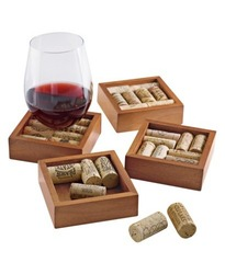 Wine Enthusiast 4 Piece Wine Cork Coaster Kit (551 22)