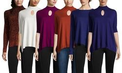 Harper Sweater with Asymmetric Hem - Eclipse/Noir - Small