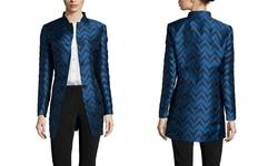 Anne Klein Women's Jacquard Nehru Jacket - Raven Blue Combo - Size: 14