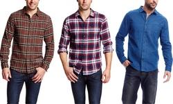 Jachs Men's Printed Long Sleeve Cotton Button Up Shirt - Indigo - Size: L