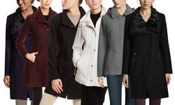 Jessica Simpson Women's Twill Asymmetrical Zip Coat - Black - Size:Medium