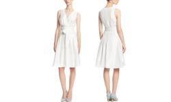 Kasper Women's V Neck Wrap Bodice Dress - Ivory - Size: 6