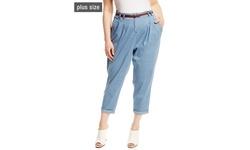 Modamix Women's Denim Jogger Pants with Belt - Light Denim - Size: 28W