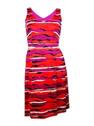 Anne Klein Women's Printed V Neck Fit and Flare Dress - Fuchsia - Size: 8