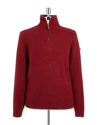 Ben Sherman Knit Troyer Sweater - Red - Size: Medium