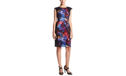 Women's Cap Sleeve Side Blocked Printed Sheath Dress - Multi - Size: 16