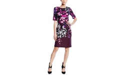 Taylor Women's Sleeve Printed Sheath Dress - Twilight Mulberry - Size: 4