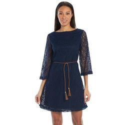 Sharagano Women's Crochet Shift Dress - Deep Royal - Size: Medium