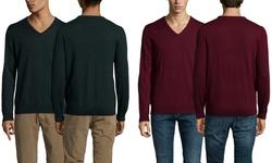 Ben Sherman Men's Solid V Neck Sweater - Black Pine Marl - Size: Large