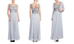 J Kara Women's Embellished Jacket Dress - Silver/Mercury - Size: 6