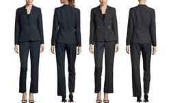Tahari Star Collar Pinstripe Pant Suit - Black-White - Size: 12