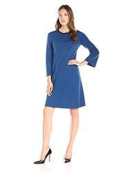 Anne Klein Women's Long Sleeve A-Line Dress - Raven Blue - Size: 2