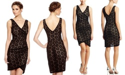 Nicole Miller Women's V-Neck Daisy Lace Cocktail Dress - Black - Size: 8