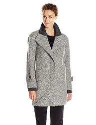 French Connection Rib Knit Collar Wool Coat - Gray - Size: 8