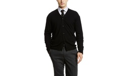 Blake & Woods Men's Merino Crew Neck Sweater - Black - Size: Large