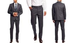 Vince Camuto Men's Slim Fit 2-Piece Suit - Medium Charcoal - Size: 40R