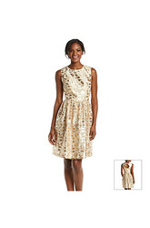 Chetta B. Sleeveless Metallic Printed Fit & Flare Dress - Ivory/Gold - 16