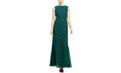Tadashi Shoji Boat Neck Embroidery Gown - Deep Emerald/Black - Size: 4
