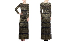 Tadashi Shoji Women's Metallic Stripe Gown - Black/Gold - Size: 2