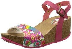 Desigual Women's Caramelo Sandals - Pink Floral - Size: 7.5