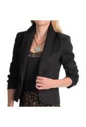 Amanda & Chelsea Open Front Blazer with Ruched Sleeves - Black - Size: 10