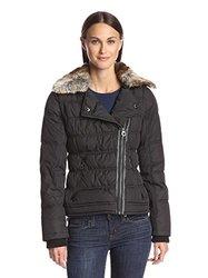 Laundry By Design Women's Asymmetric Puffer Jacket - Black - Size: Large