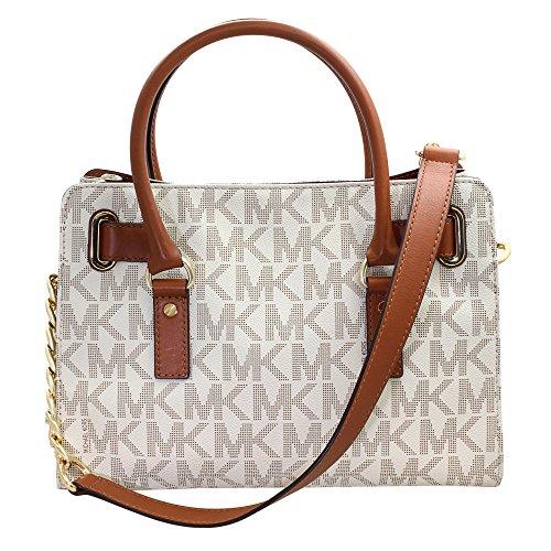 890868bb9159 ... Michael Kors Hamilton MK Logo Satchel Bag - Vanilla - One Size ...