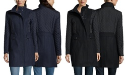 Kenneth Cole Women's Wool Coat With High Collar - Black - Size: 6
