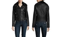 BCBGeneration Women's Faux Leather Moto Jacket - Black - Size: Large