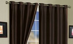 Mira Faux Silk 58x84 Curtain Panel Pair with Grommets - Coffee