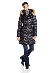 Dawn Levy Women's Abby Faux Fur Trim Puffer Coat - Black - Size: XS