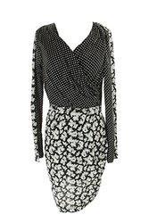 French Connection Women's Faux-Wrap Paneled Dress - Black/Multi - Size: 10