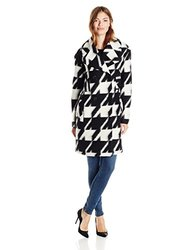 7 For All Mankind Double Breasted Wool Coat - Black/White - Size: 4