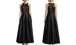 Joanna Chen Women's Lace Illusion Waist Gown - Black - Size: 6