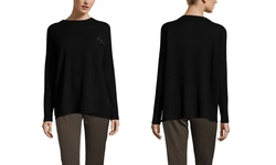 Olivia and Grace Buckle Trim Boatneck Sweater - Black - Size: Small
