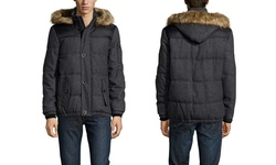 Buffalo Wool Hooded Jacket with Button - Charcoal - Size: Large