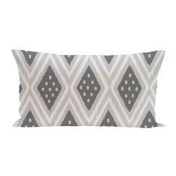 E By Design Ikat Dot Geometric Print Outdoor Seat Cushion - Steel Gray