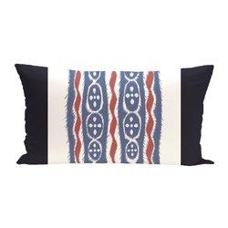 E By Design Ikat Ribbon Stripes Print Outdoor Seat Cushion