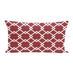 E By Design Link Lock Geometric Print Outdoor Seat Cushion - Brick