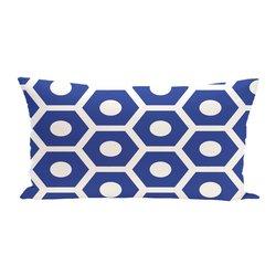 E By Design Geometric Decorative Outdoor Seat Cushion - Dazzling Blue
