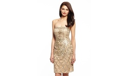 Sue Wong Women's Strapless Printed Dress - Beige - Size: 4