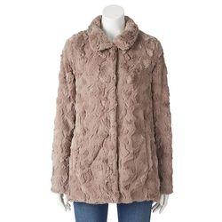 Weatherproof Women's Faux Fur Jacket - Mushroom - Size: Large